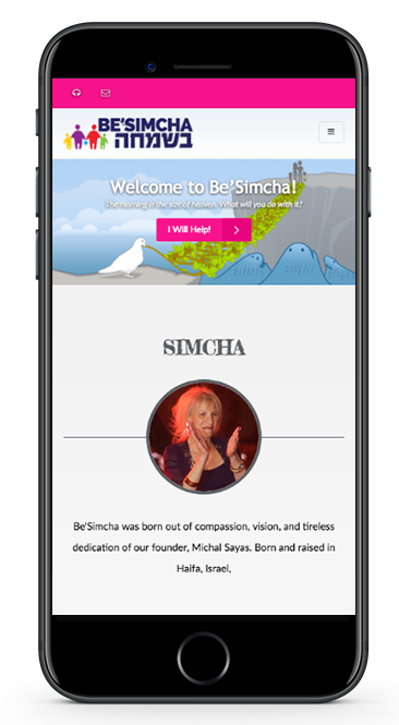 BeSimcha Website Mobile View