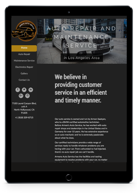 AA Website Tablet View