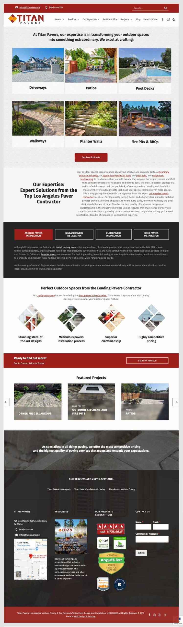 Titan Pavers Website Landing Page